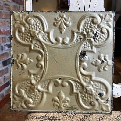 """12"""" Antique Tin Ceiling Tile -- Gold Colored Paint with Ornate Design - A2"""