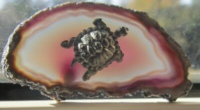 Miniature Pewter Turtle On Amethyst Sliced Geode