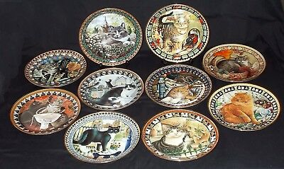 TEN Danbury Mint 'CATS !' by Lesley Anne Ivory Collectors Plates