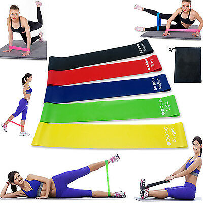 Resistance Bands Loop For Exercise Gym Rehab Crossfit Yoga Pilates Glute 5 Bands