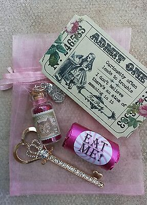 ALICE IN WONDERLAND themed Gifts In Pink Organza Bag / Includes Alice Fairy Dust