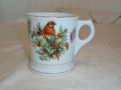 Antique J.S. Germany Dresden Small Mug Cup Birds Flowers Berries VGC