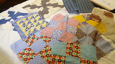 Lot of 11 Vintage Quilt Blocks for Top Crafts Quilting cotton feedsacks fabric