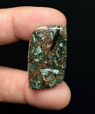 Unusual !  24.10 Cts. Natural Copper Seraphinite Cab For Sterling Silver Pendant