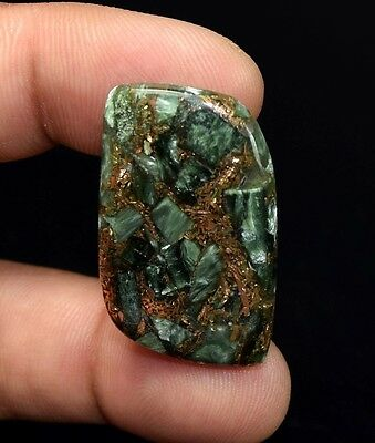 Unusual !  26.05 Cts. Natural Copper Seraphinite Cab For Sterling Silver Pendant