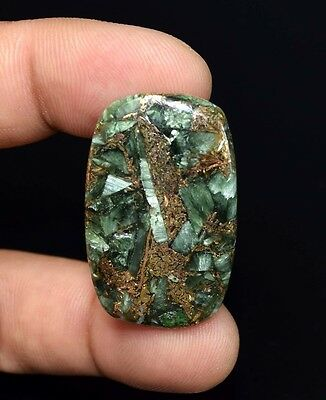 Top Grade  29.45 Cts. Natural Copper Seraphinite Cab For Sterling Silver Jewelry