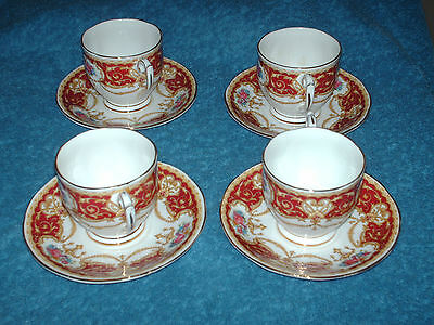 """4 vintage  queen anne fine bone china cups and saucers  """"regency"""""""