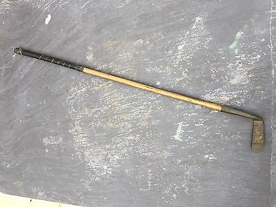 Vintage Antique Hickory Shaft Brass Head Golf Club Pyramid Putter Special