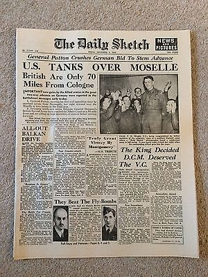 """The Daily Sketch 8th September 1944 """"U.S. Tanks Over Moselle"""""""