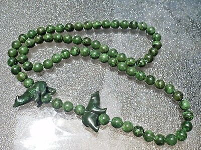 Antique Pre-Columbian H/carved Green Natural Jade Necklace W/ Carved 2 Bears