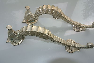"2 Used small SEAHORSE solid brass door SILVER old style house PULL handle 10"" B"