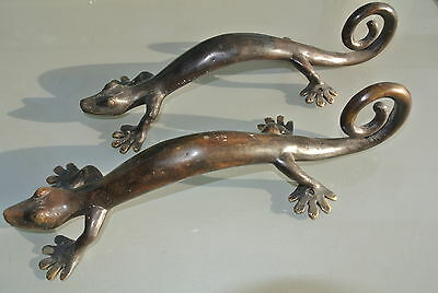 "2 medium GECKO brass door vintage old style house PULL handle 14"" plain patternB"