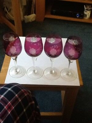 Vintage Rose / Cranberry Wine Glasses
