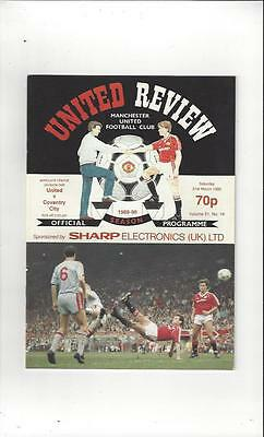 Manchester United v Coventry City 1989/90 Football Programme