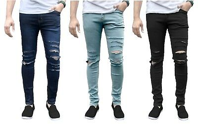 149e5b5f2ff2 Mens Skinny Jeans Ripped Slim fit Stretch Denim Distress Frayed Biker Jeans  Boys
