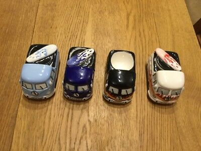 pottery camper van egg cup with salt shaker surf boards set of 4