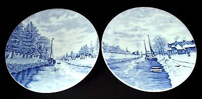 TWO Signed Delft BLUE AND WHITE Plates