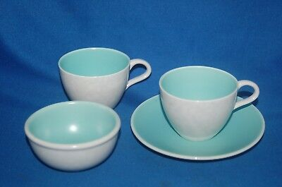 Poole grey/white mottled and green 2 cups, saucer and sugar bowl