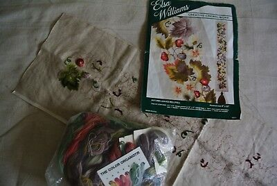 Floral Bell Pull Vtg Elsa Williams Crewel Embroidery Autumn Leaves Started