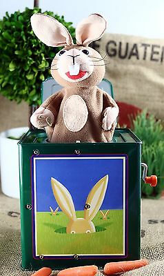 Vintage Jack Rabbit in a Box The Nature Company Collectible Tin Toy Rare wind up