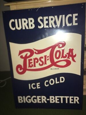 Pepsi Cola Double Dot Embossed Advertising Tin Sign Original Curb Service HTF