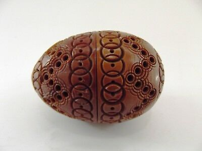 Antique Carved Coquilla Nut Egg Shaped Sewing Thimble Case/etui Ref 643/15