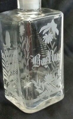 Antique BAY RUM Victorian Etched Glass Barber Bottle w ground Stopper