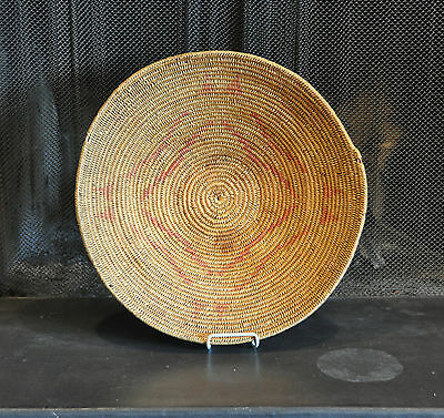 """VERY LARGE JICARILLA APACHE INDIAN BASKET BOWL TRAY - EARLY 1900s -  20"""" ACROSS"""