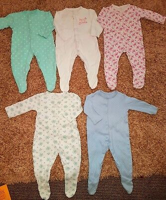 Baby Girls Bundle 5 White Pink Floral Sleepsuits Pyjamas 6-9 Months