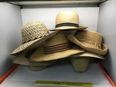 Vintage 6 Sun Hats Wicker Woven Straw Mix Costume lot Very CleanNo Smoke Cowboy