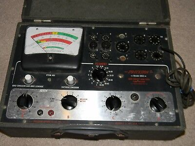 Precision 650 Tube Tester With Tube Test  Chart and Instructions WORKS