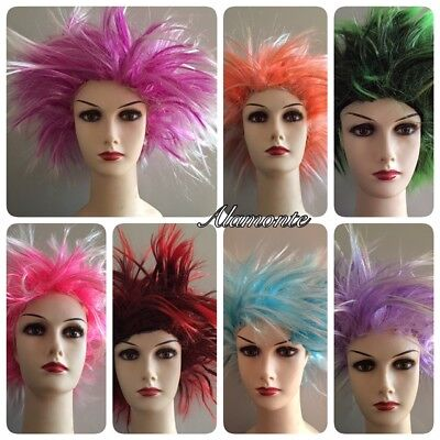Short Spiky Punk Wig Rocker 80s WIG Women Men Multi coloured Fancy Dress Costume