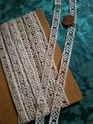 Thin Antique French lace Torchon slotted trim  vintage 8+ yards