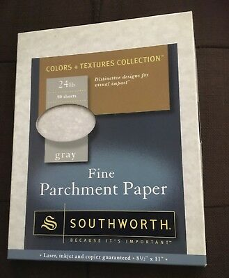 "Southworth gray Fine Parchment Paper 24 lb 50 sheets 8.5 by 11"" laser inkjet"