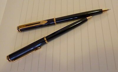WATERMAN CLASSIC HEMISPHERE Dark Green/Gold BALLPOINT PEN/PENCIL SET - c. 2005