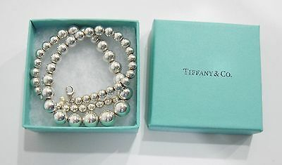 """$425 Tiffany & Co. 925 Sterling Silver Graduated Bead Ball Necklace Size 16.25"""""""