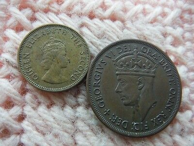 Great Britain Jersey Island 1945, 1957 1/12 Shilling, 1/4 Shilling Lot of 2