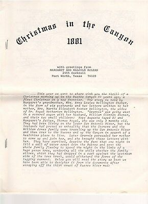 1881 Christmas in the Canyon Granny Stoner's Remembrances in Nueces Canyon Texas