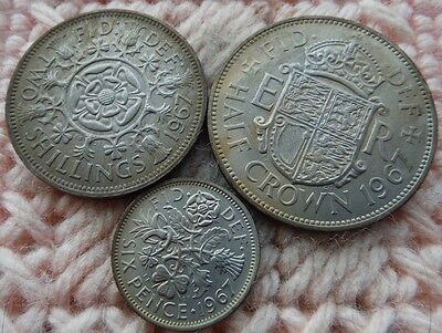 UK Great Britain 1967 Sixpence, Florin, 1/2 Crown  UNC MS Lot of 3