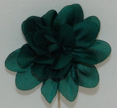Silver Stemmed Lapel Pin - Green