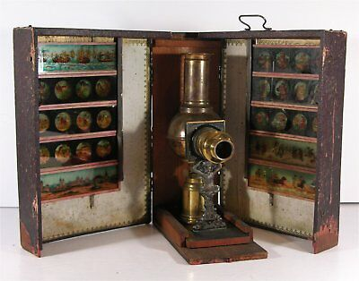 1880's JEAN SCHOENNER ATLAS MAGIC LANTERN KIT IN ORIGINAL BOX WITH SLIDES
