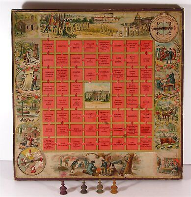 1894 McLOUGHLIN CHROMOLITHOGRAPH BOARD GAME - FROM LOG CABIN TO WHITE HOUSE