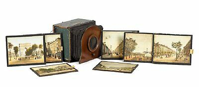 ca1850 POLYORAMA PANOPTIQUE VIEWER / PEEP SHOW OPTICAL TOY w/ VIEWS BOX CAMERA