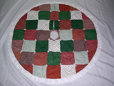 """Christmas 42"""" Patch Work Quilted Tree Skirt."""
