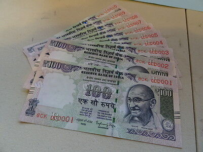"""Bank of India 100 Rupee Low serial bank notes """"Gem UNC """" Condition 8CK000001-10"""