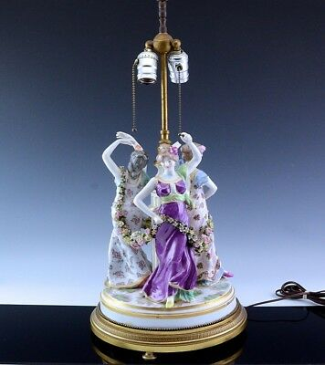 Amazing Antique Dresden Germany Porcelain 3 Graces Maidens Figural Table Lamp