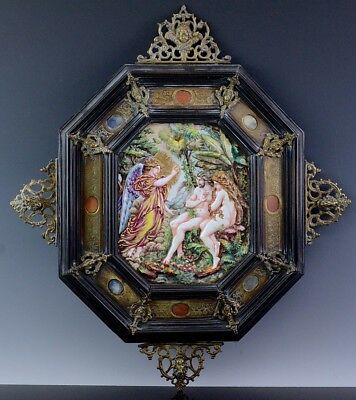 SUPERB 19thC GRAND TOUR ITALIAN NAPLES CAPODIMONTE PORCELAIN PLAQUE AGATE FRAME