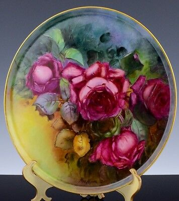 Stunning Antique Amateur Artist Hand Painted Limgoes France Roses Platter Tray