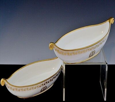 TWO VERY RARE c1840 SEVRES KING LOUIS PHILIPPE ROYAL ARMORIAL SERVING DISH TRAYS