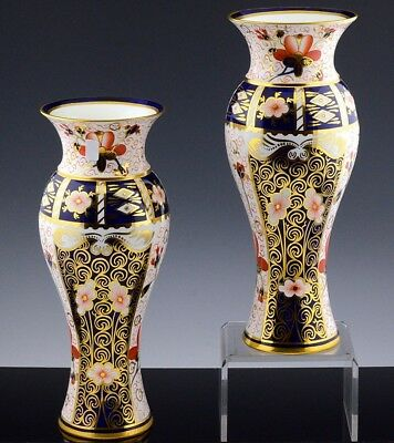 STUNNING PAIR 11 INCH ROYAL CROWN DERBY 2451 IMARI VASES MADE FOR TIFFANY & Co